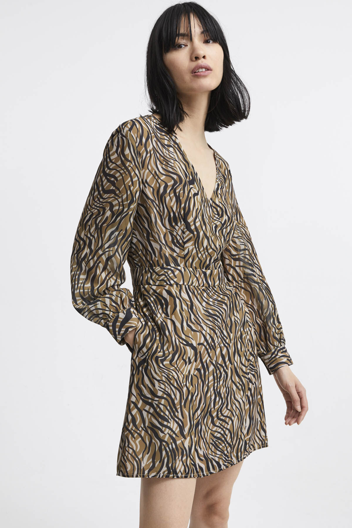 HARP WRAP DRESS Printed Georgette - Relaxed Fit