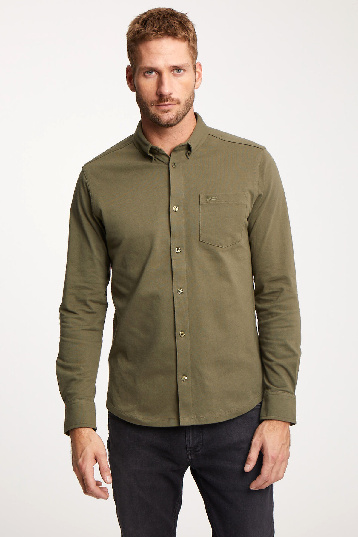 BRIDGE SHIRT Premium Cotton Jersey - Slim Fit
