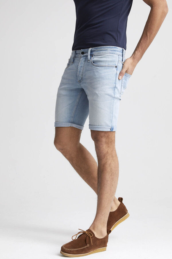 RAZOR SHORT Stonewashed Denim - Slim Fit