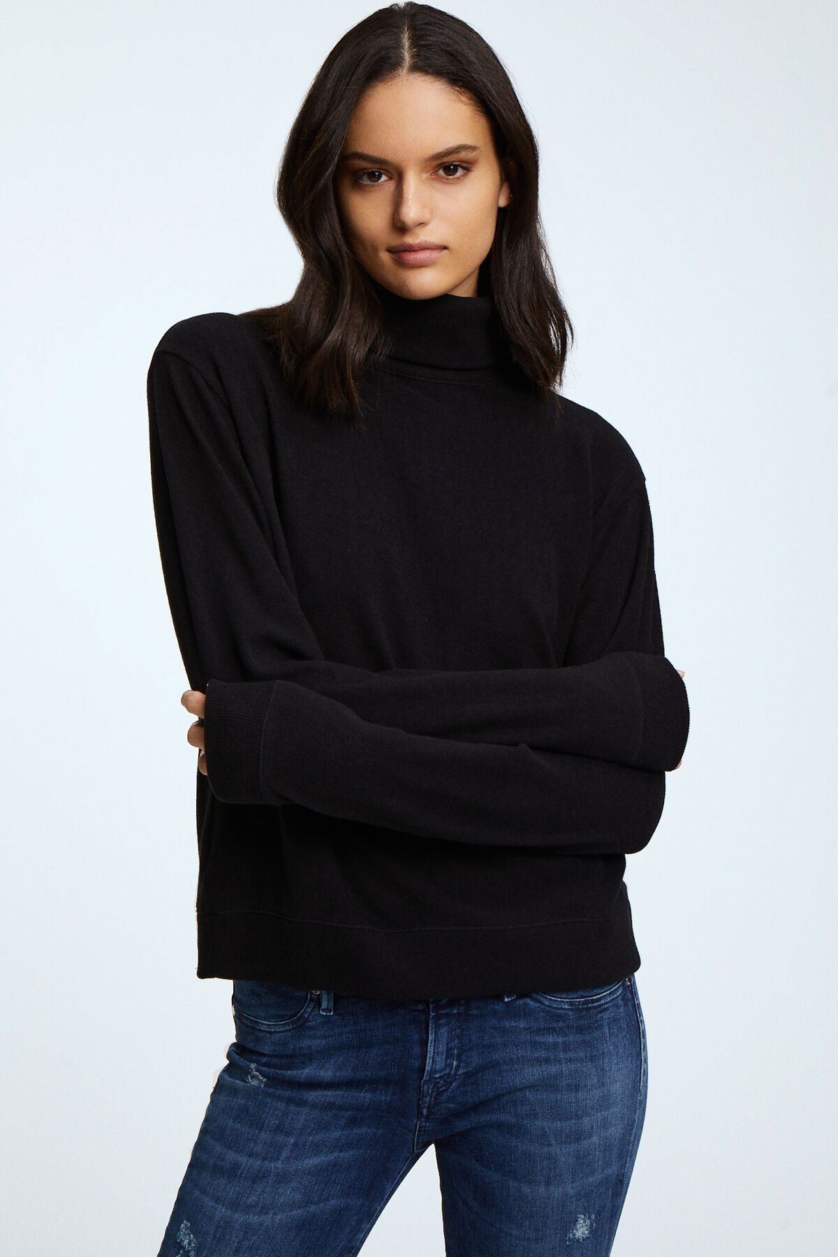 SHOWA ROLL NECK Cotton Melange Jersey - Regular Fit