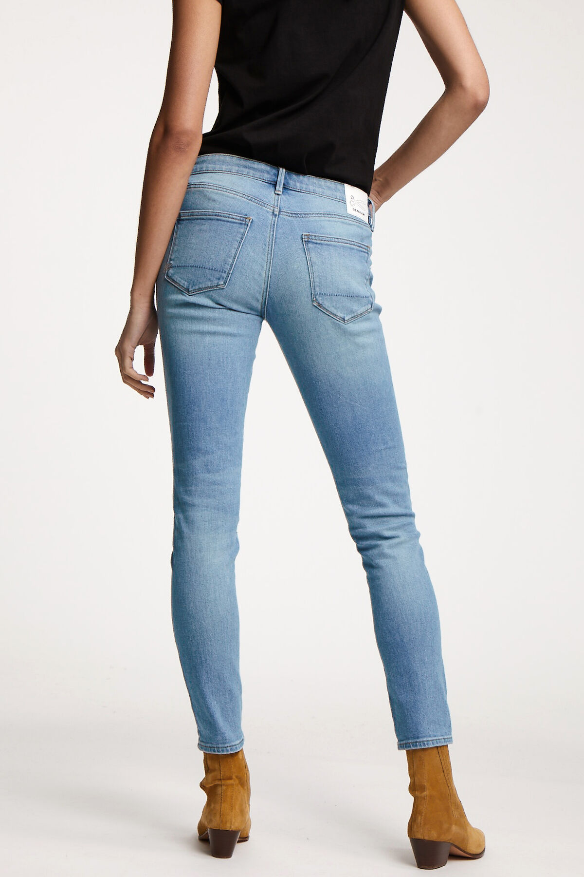 SHARP Pastel Blue, Lightly Faded Denim - MID-RISE, SKINNY FIT