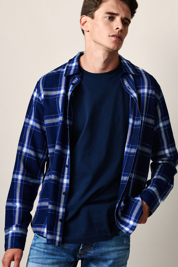 HARLEY SHIRT Indigo Check Pattern - Regular Fit
