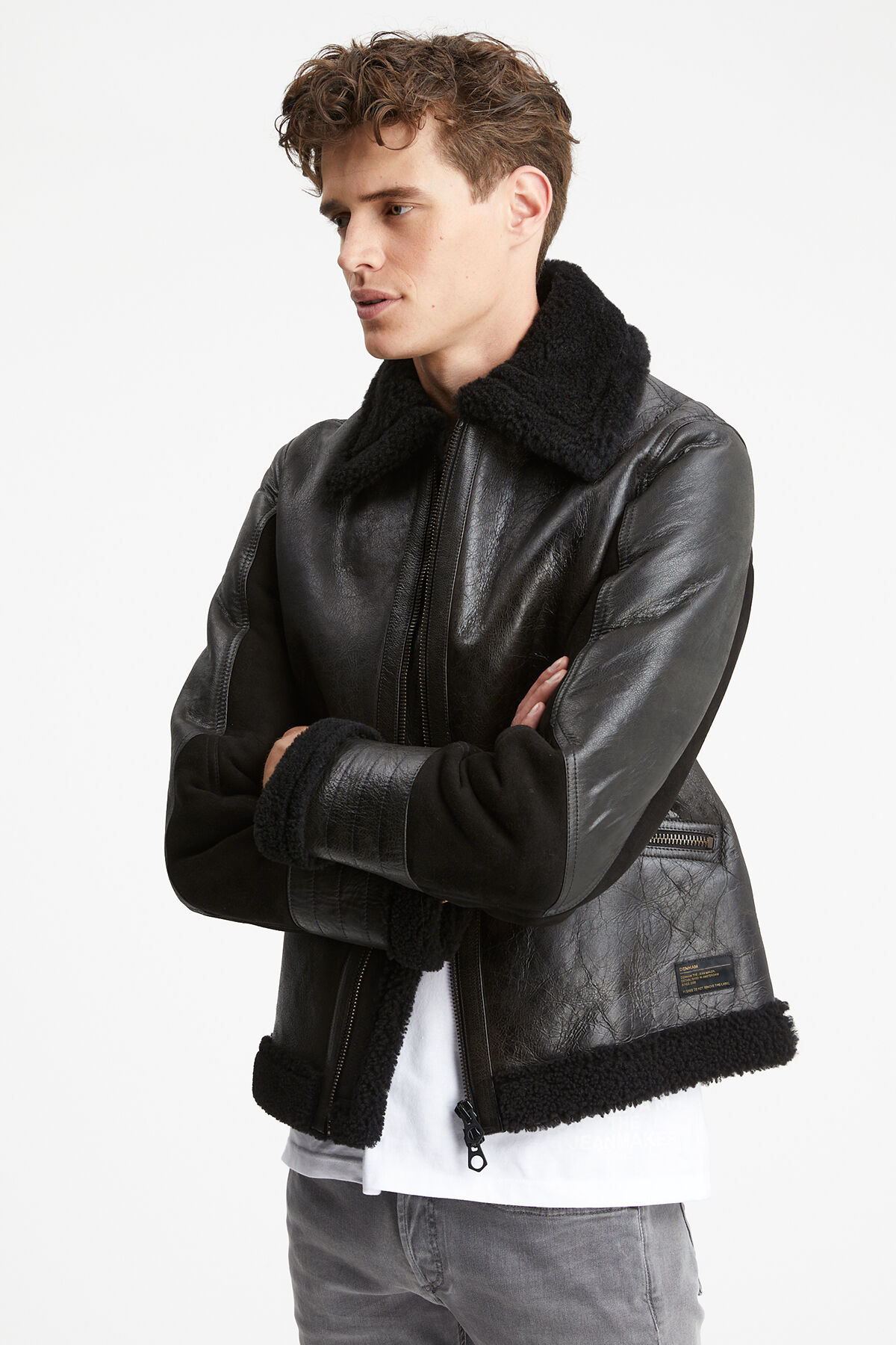 ALLOWAY LEATHER JACKET SHEARLING - Slim Fit