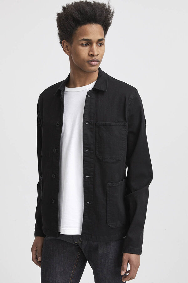 MAO JACKET Pure Black Finish Denim - Slim Fit