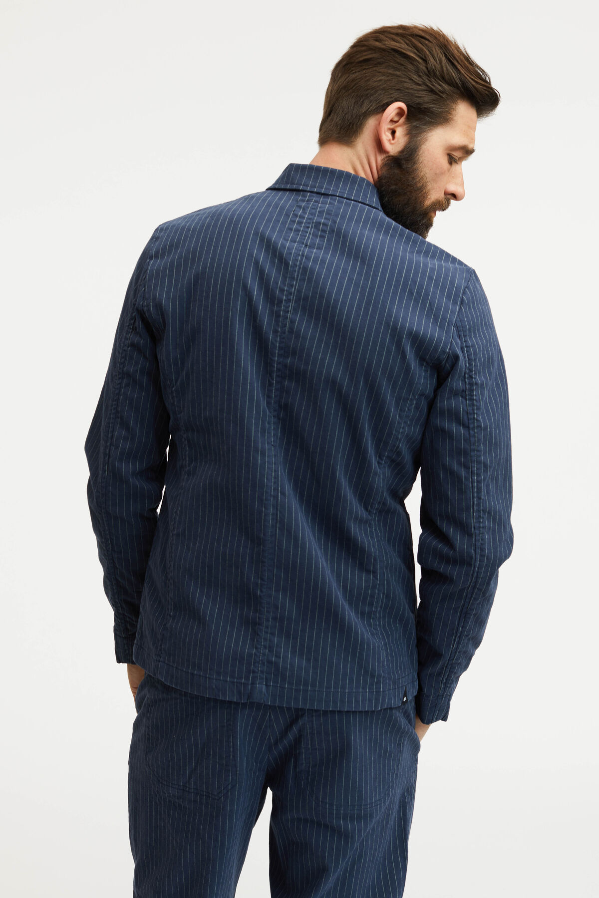 MAO TAILOR DENIM JACKET BRUSHED STRIPED COTTON FABRIC - Slim, Tailored Fit