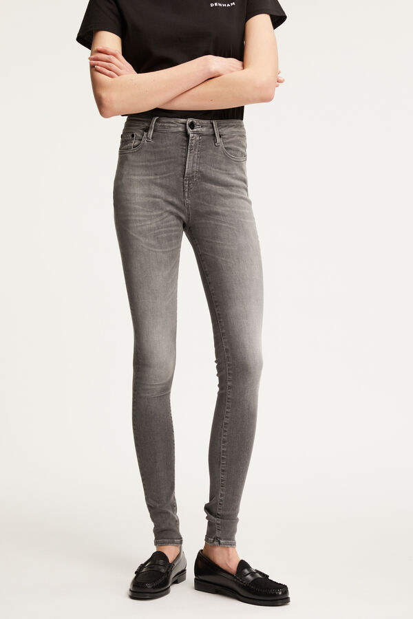 NEEDLE Six-Year Aged Grey Denim - High-rise, Skinny Fit