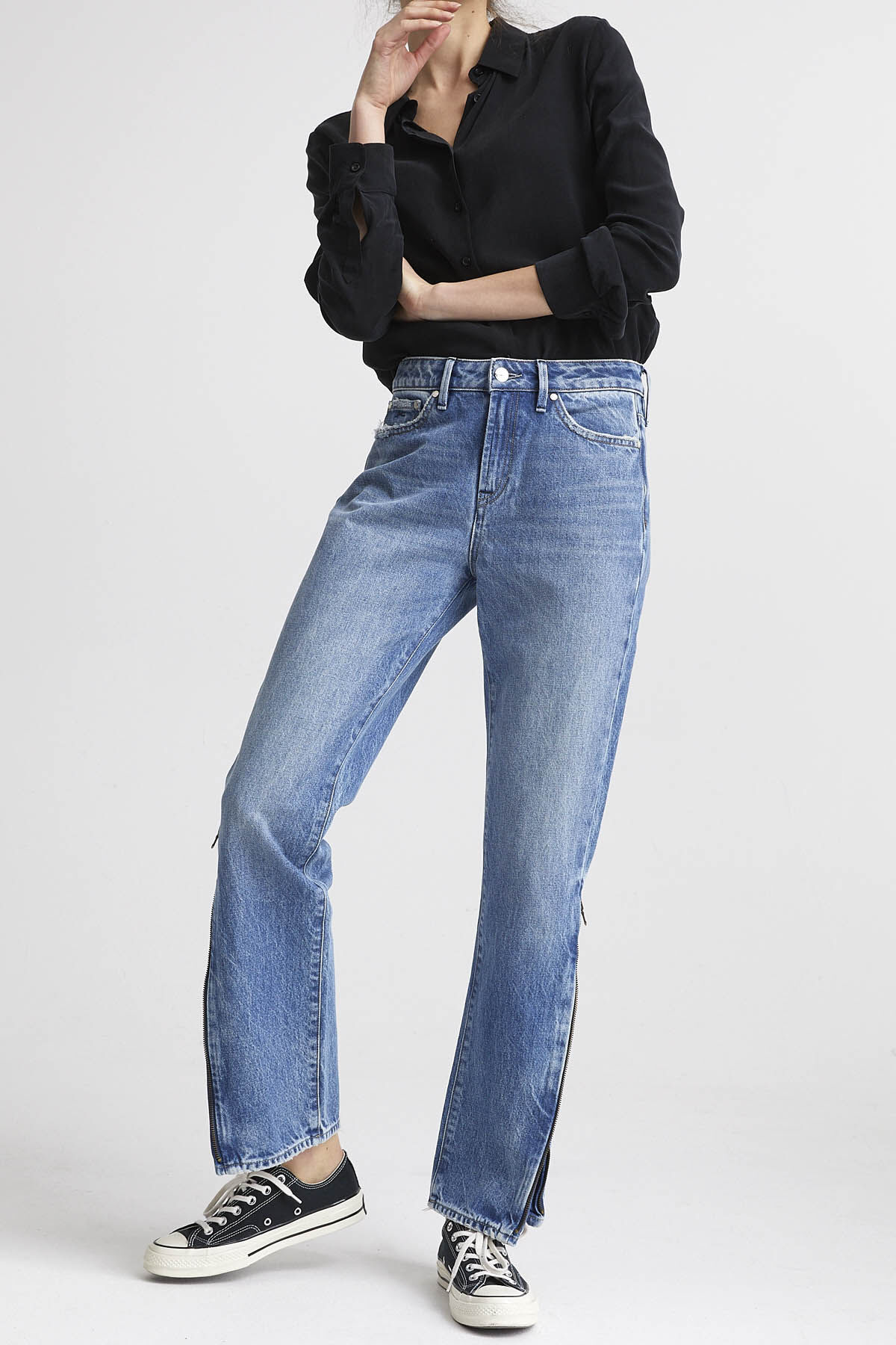 HEIDI ZIP Zipper Detail Denim - Straight Fit