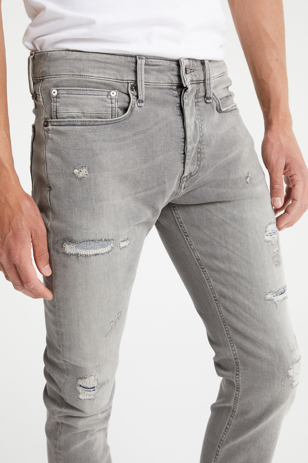 BOLT Grey Rip & Repair Denim - Skinny Fit