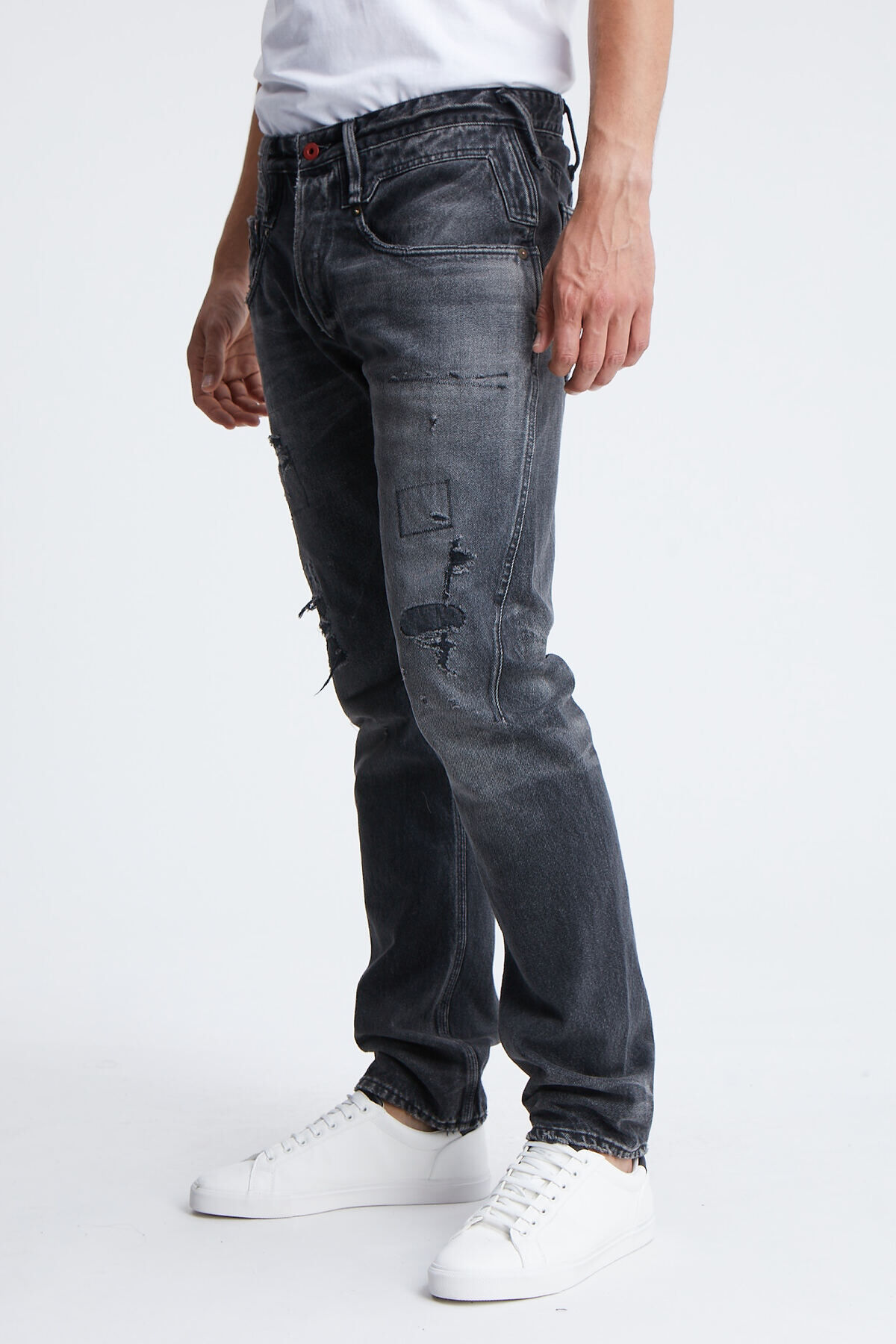 CROSSBACK Rip & Repair Black Japanese Denim - Carrot Fit