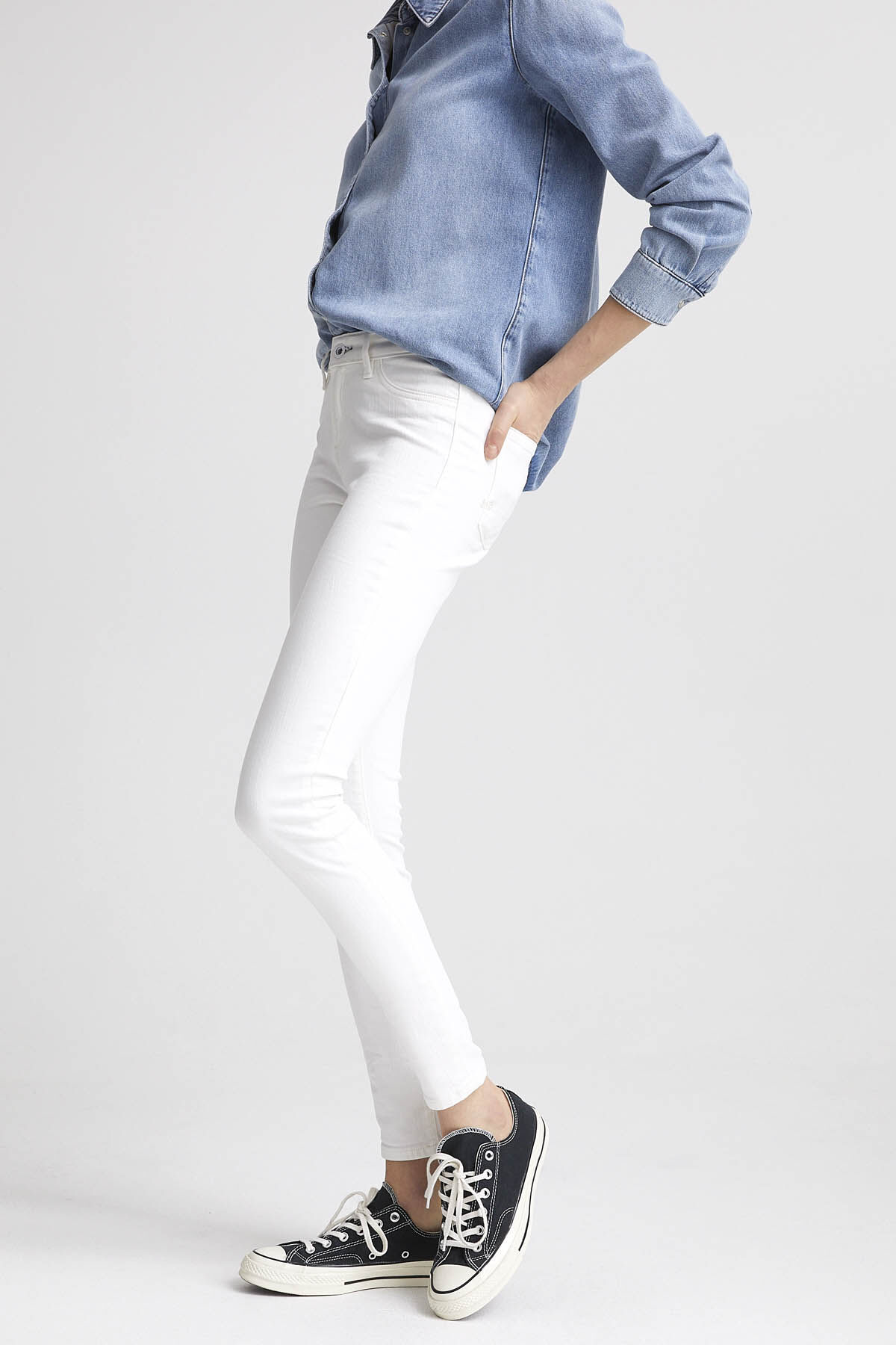 SPRAY White Comfort Stretch Denim - Mid-rise, Tight Fit