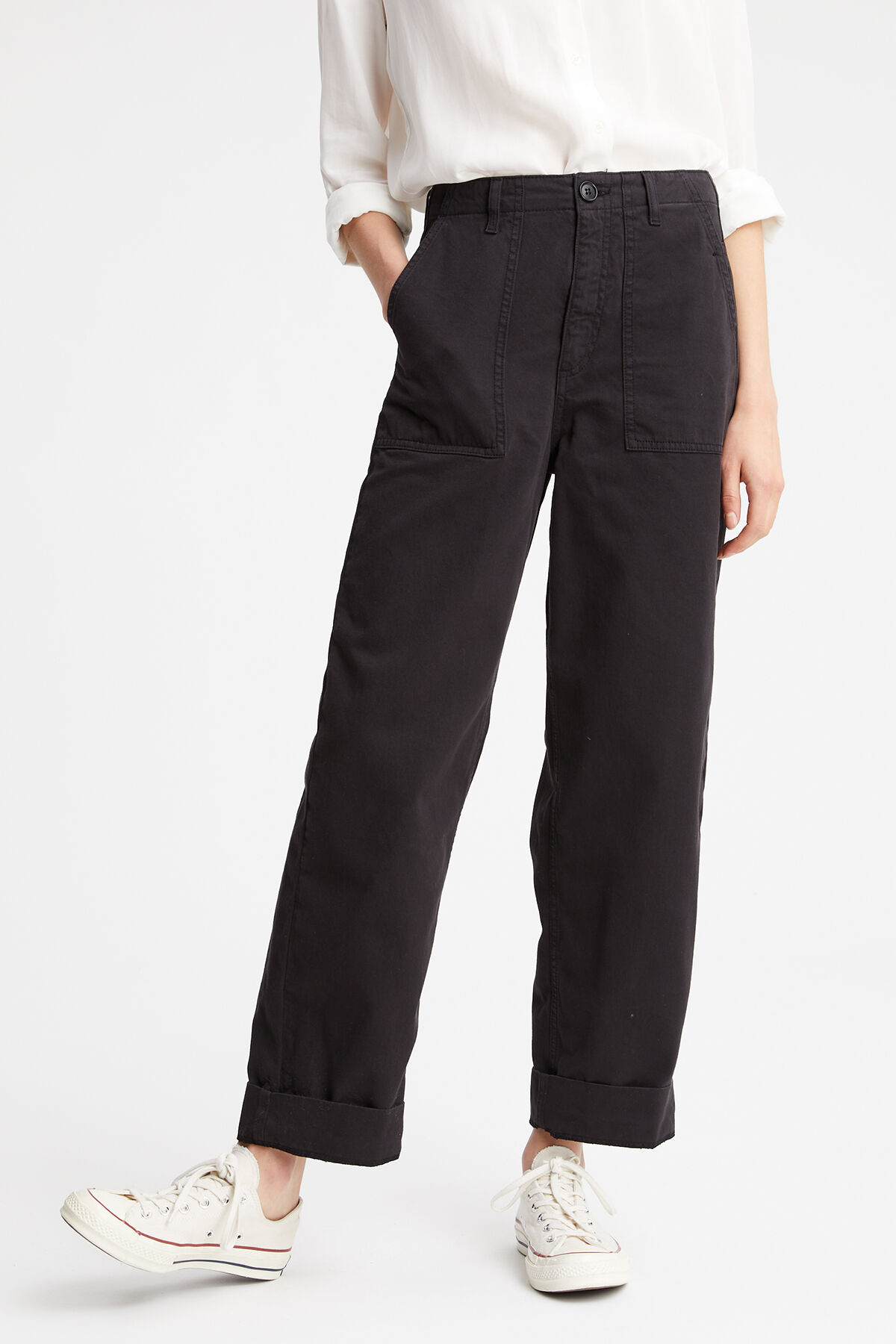 HAWTHORN CARGO PANT Soft-touch, cotton twill - Wide Leg