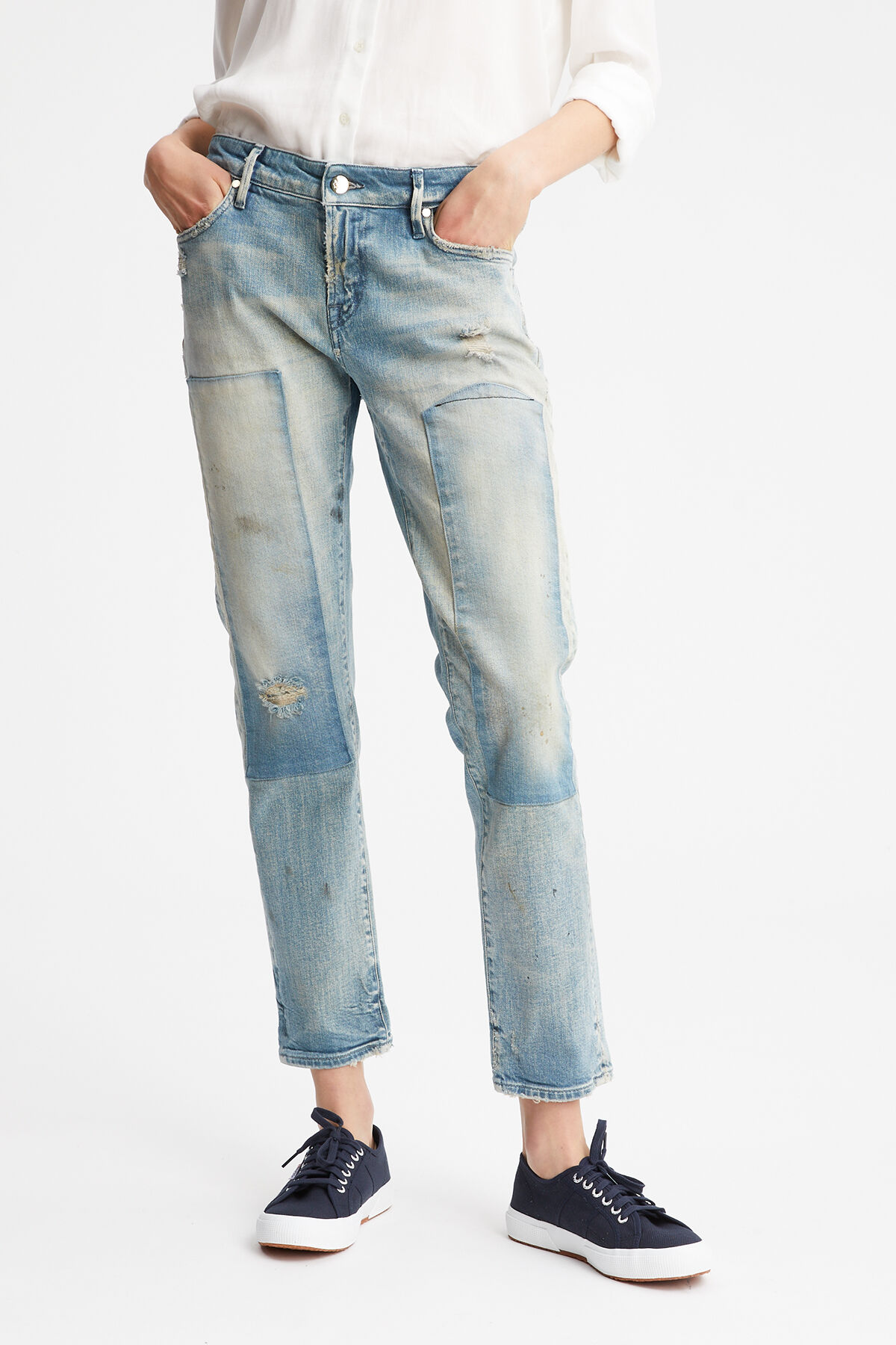 MONROE Rip & Repair Patched Denim - Girlfriend Fit