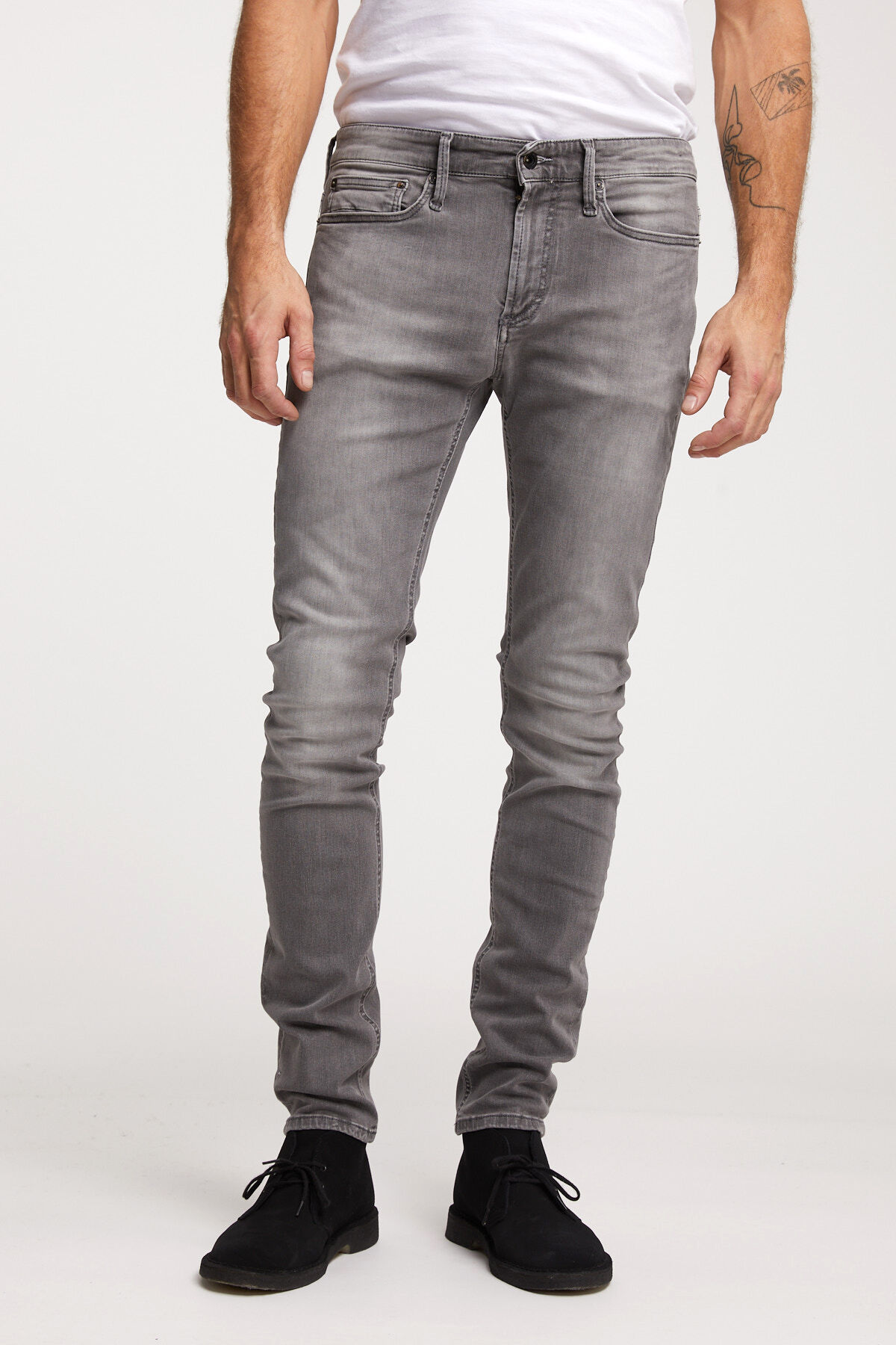 BOLT ZIP Faded Grey Denim - Skinny Fit