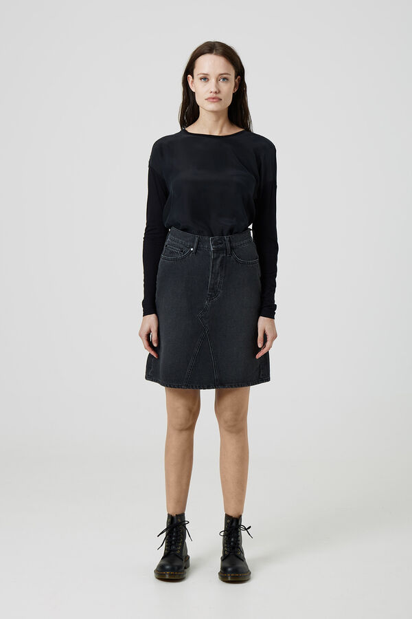 PIPER SKIRT Washed Black Denim - Knee length