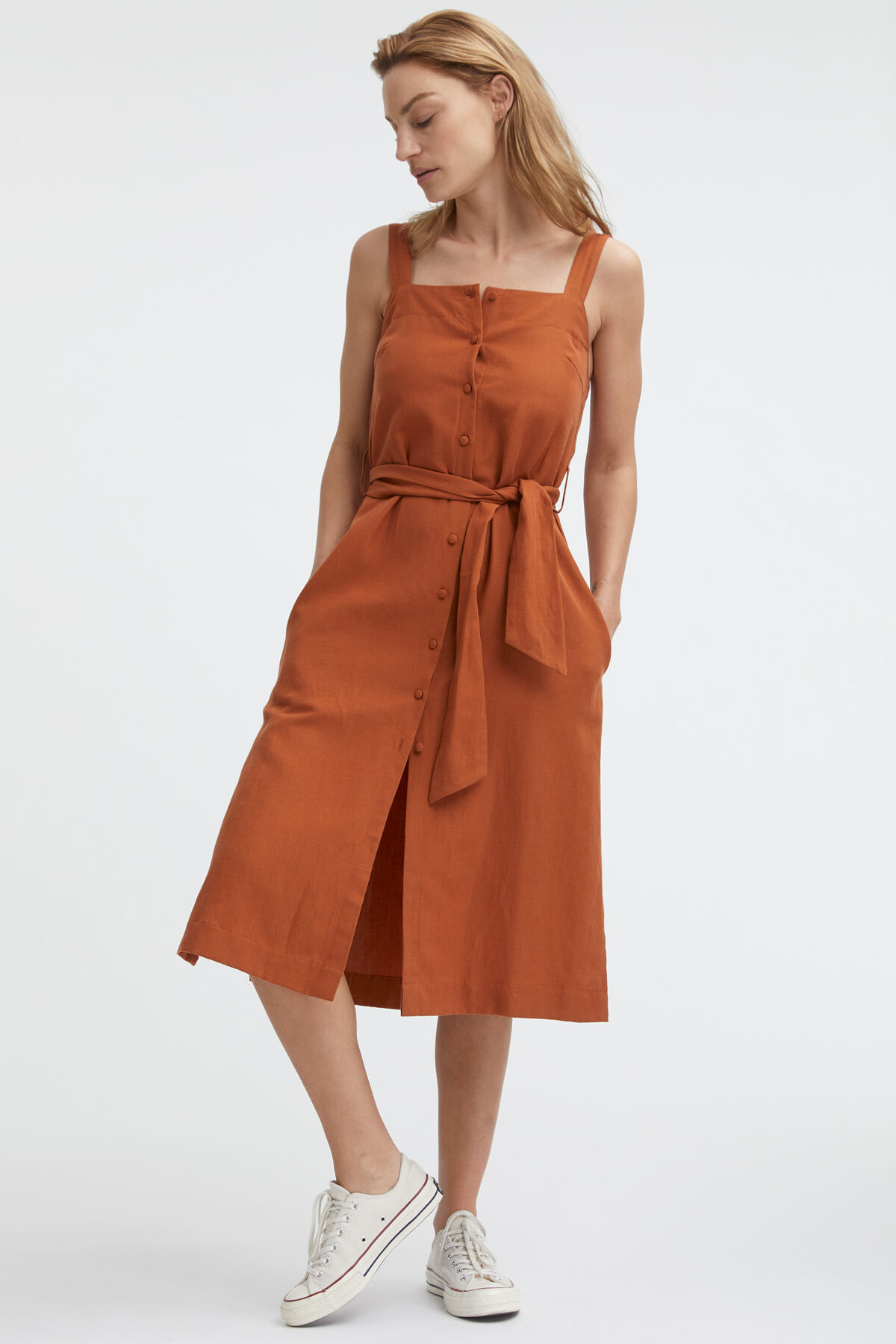 HIGHMEAD DRESS Linen & Poplin Blend - Midi