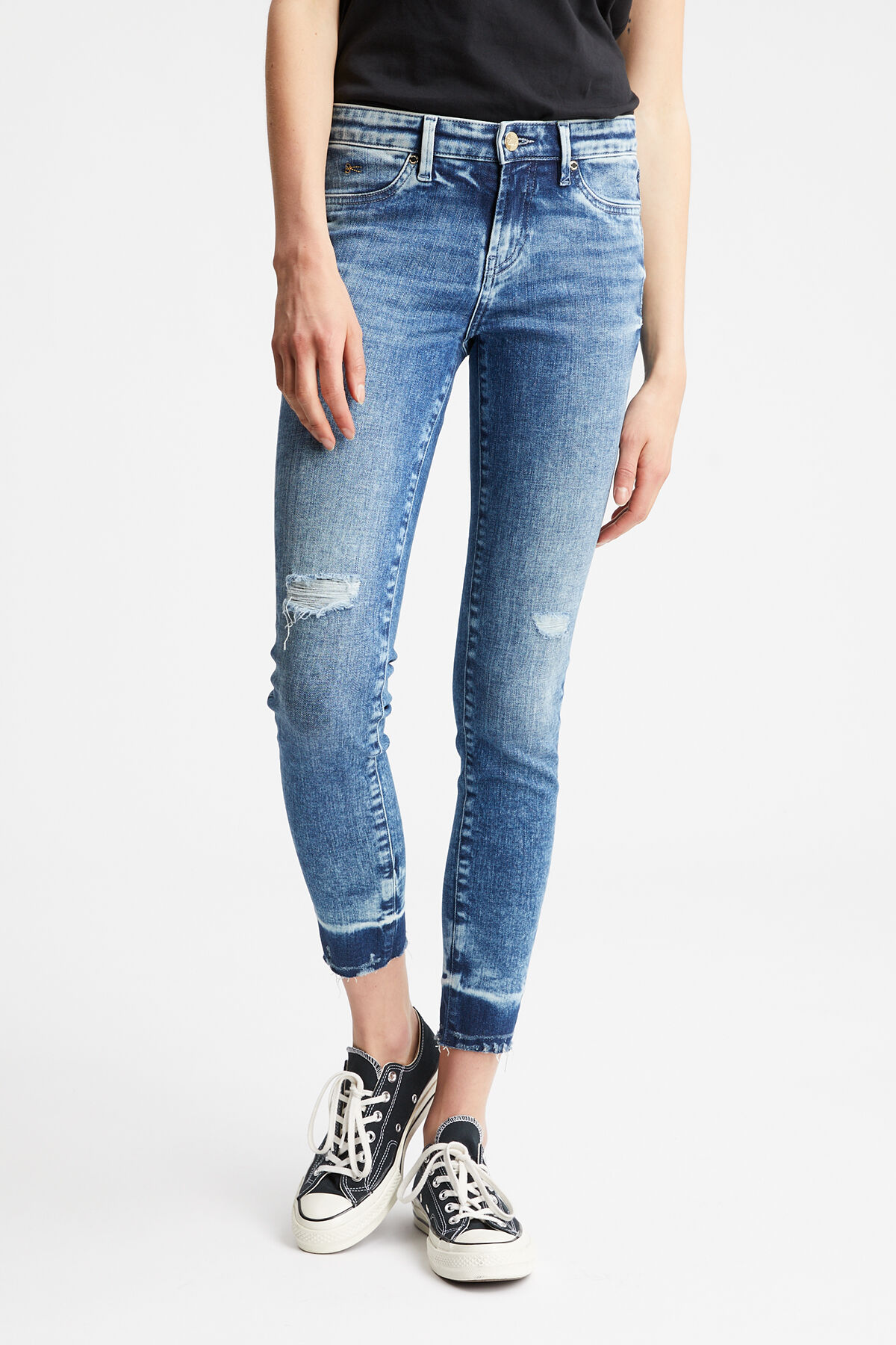 SPRAY Sustainable Rip & Repair Indigo Denim - Mid-rise, Tight Fit