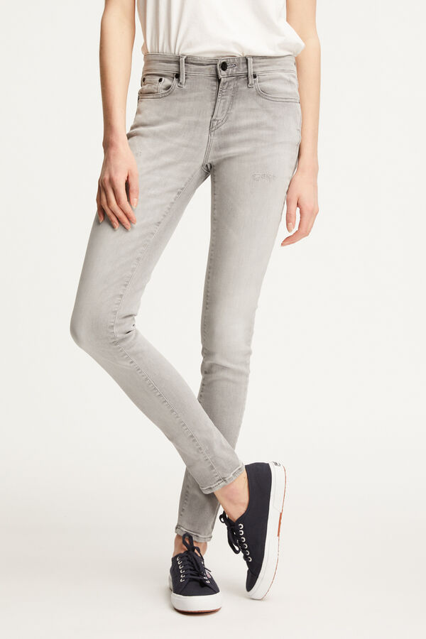 SHARP Summer Grey Denim - Mid-rise, Skinny Fit