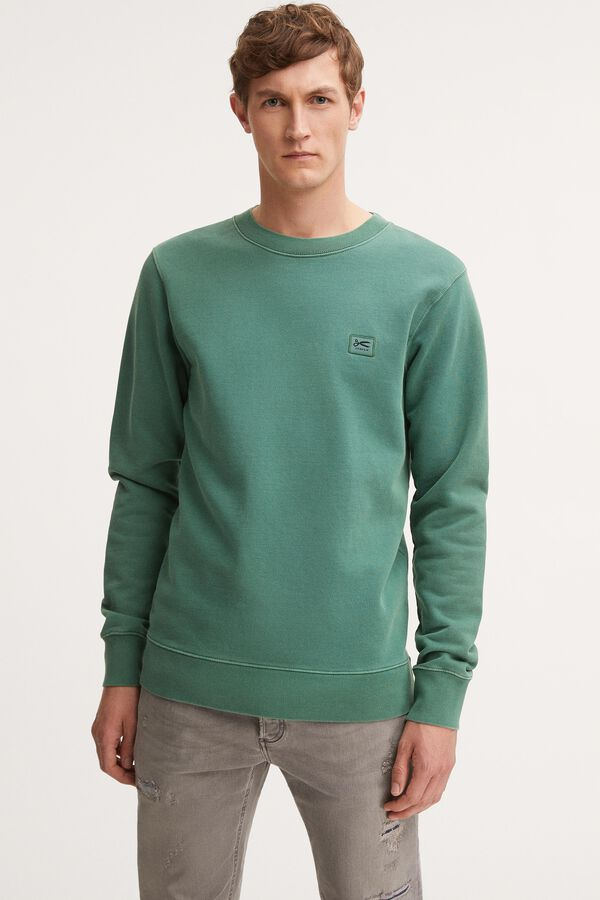 DENHAM APPLIQUE SWEAT Soft Organic Cotton Fleece - Slim Fit