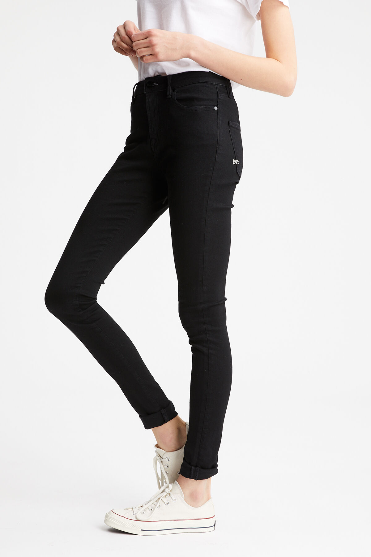 NEEDLE Black Sustainable Denim - High-Rise, Skinny Fit
