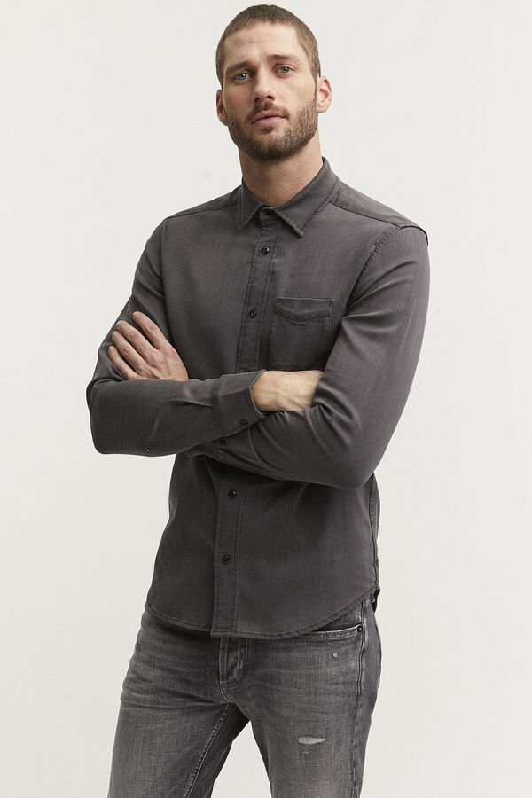 CHARLY SHIRT Grey Stretch Denim - Slim Fit