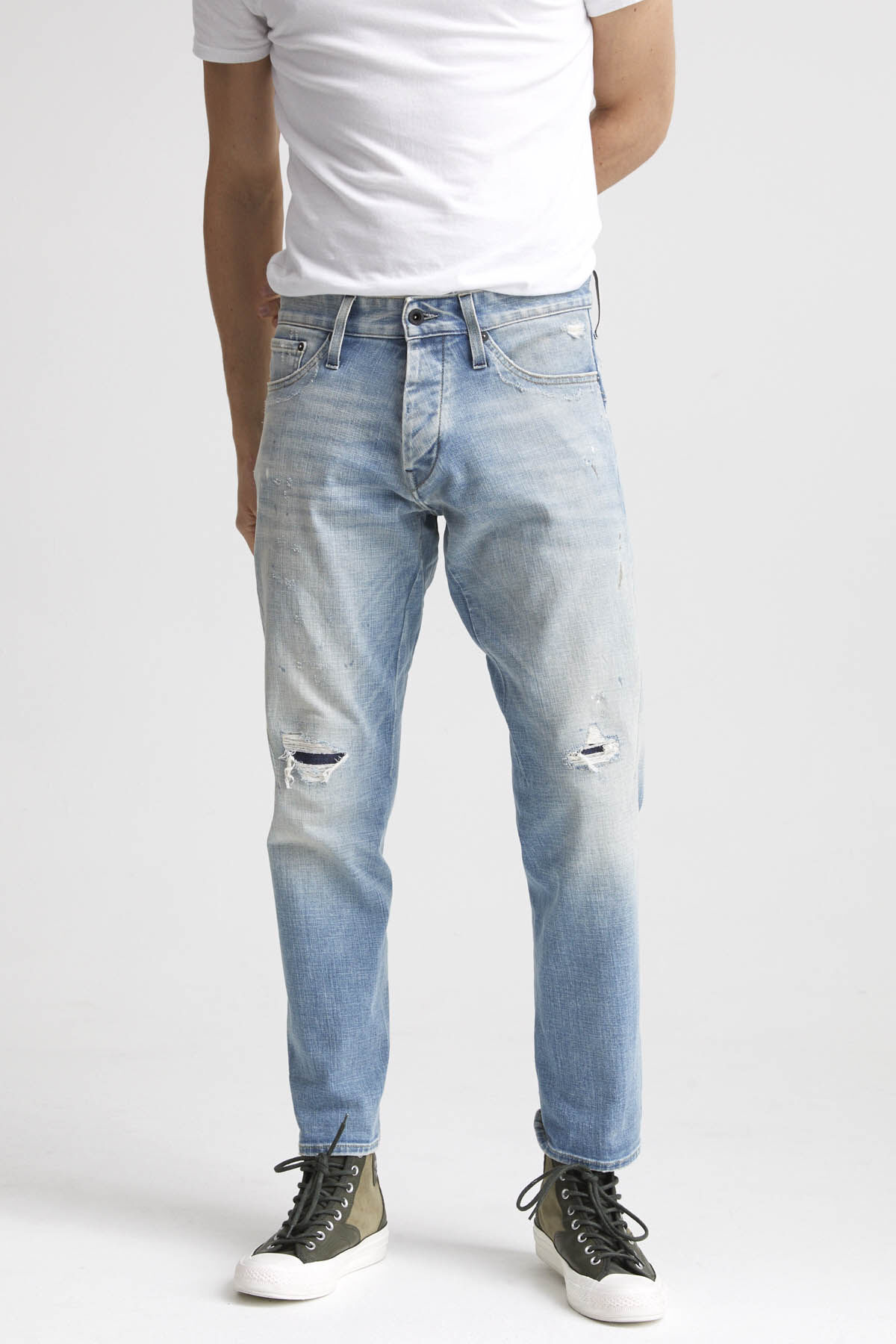 KINETIC Ripped & Repaired Denim - Tapered Fit
