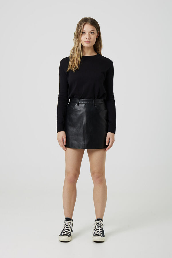 ATLANTIC SKIRT Black leather - Mini