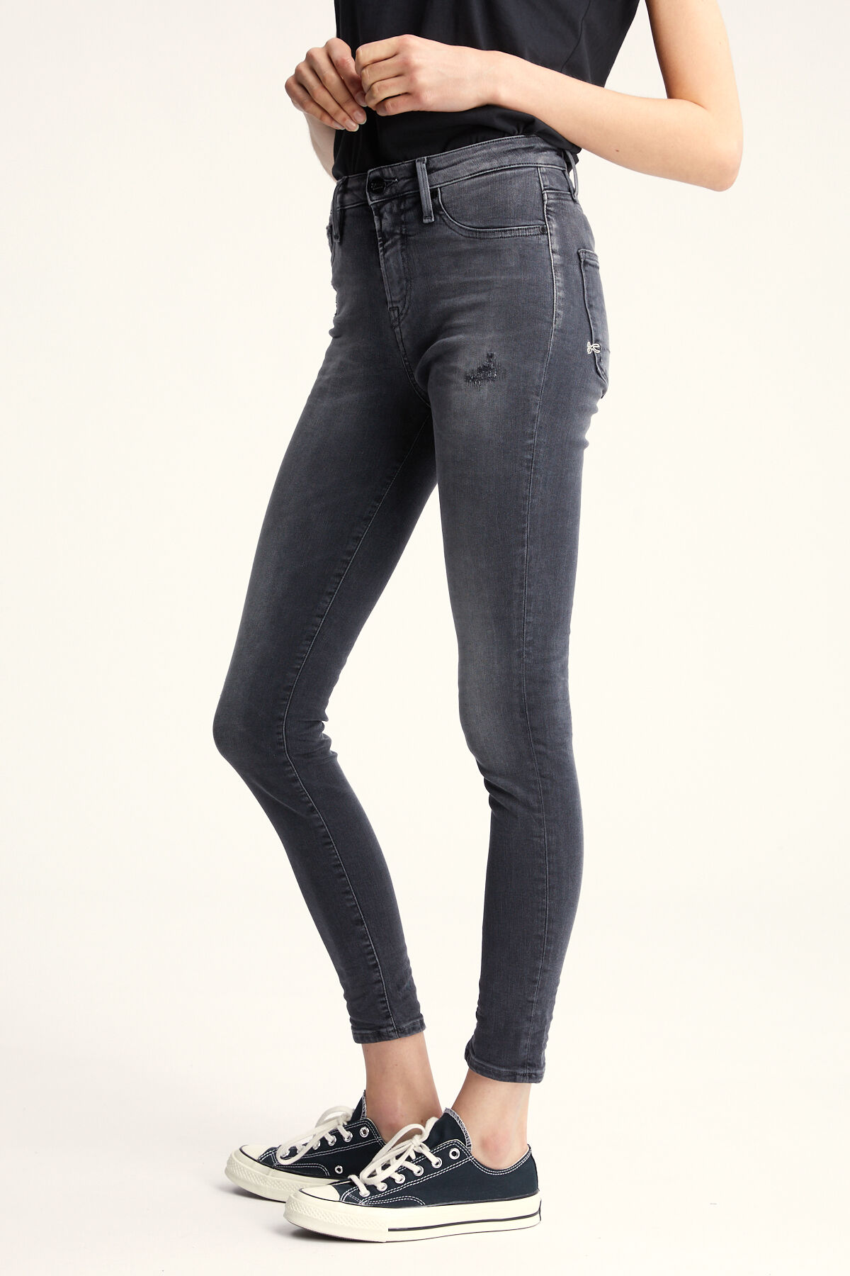 NEEDLE Mid-grey Rip & Repair - High-rise Skinny Fit