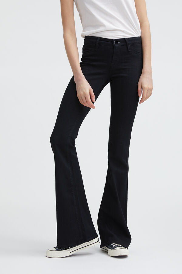 FARRAH Double Black Stretch Denim - Flare Fit