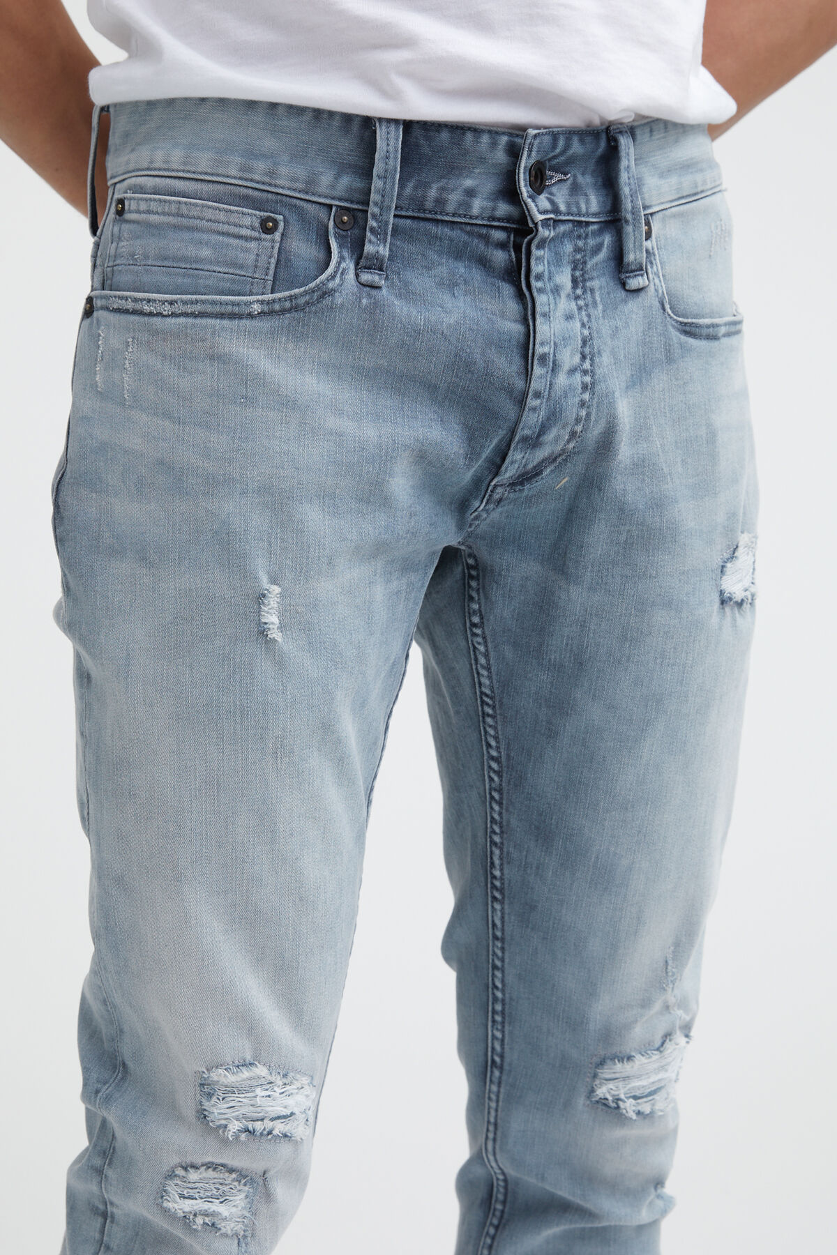 RAZOR Blue/Grey Cast, Rip & Repair Denim - Slim Fit