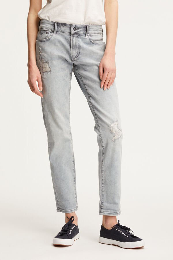 MONROE Sun Grey Rip & Repair Denim - Slim Fit