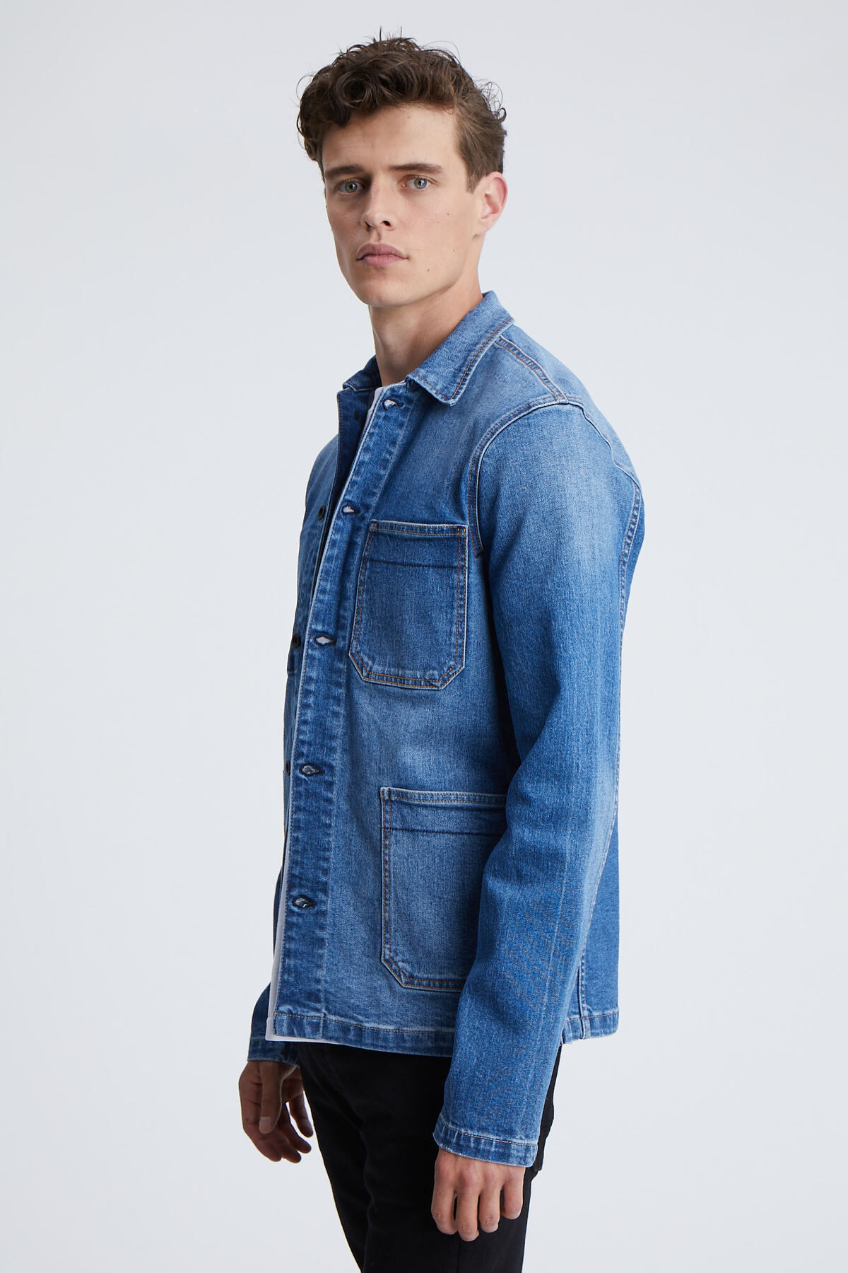 MAO JACKET Indigo Stretch Denim - Slim Fit