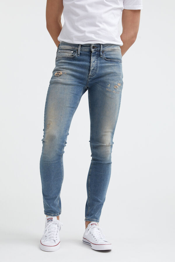 BOLT Heavy Faded, Rip & Repair Denim - Skinny Fit