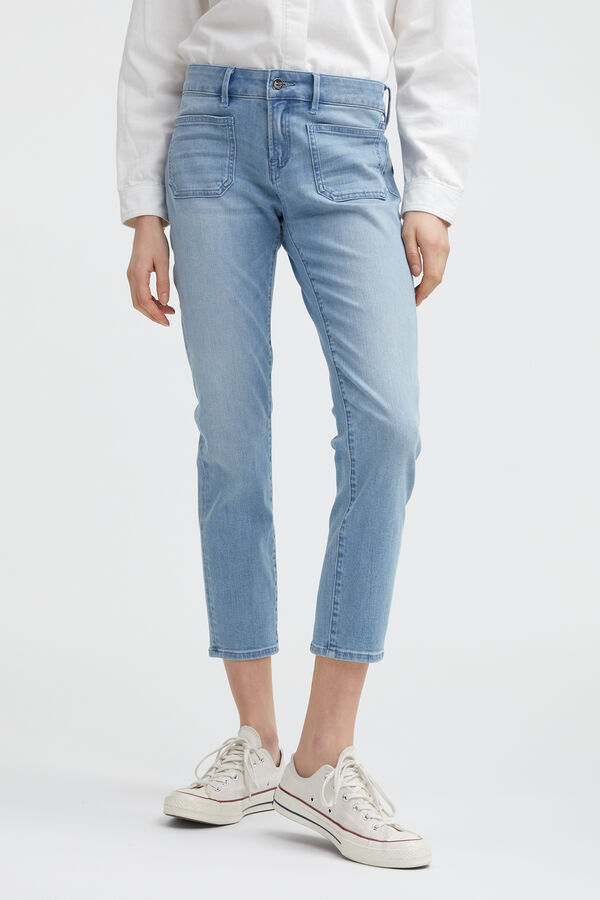 LIZ ANKLE POCKET Sublte Abrasions Denim - Straight Fit