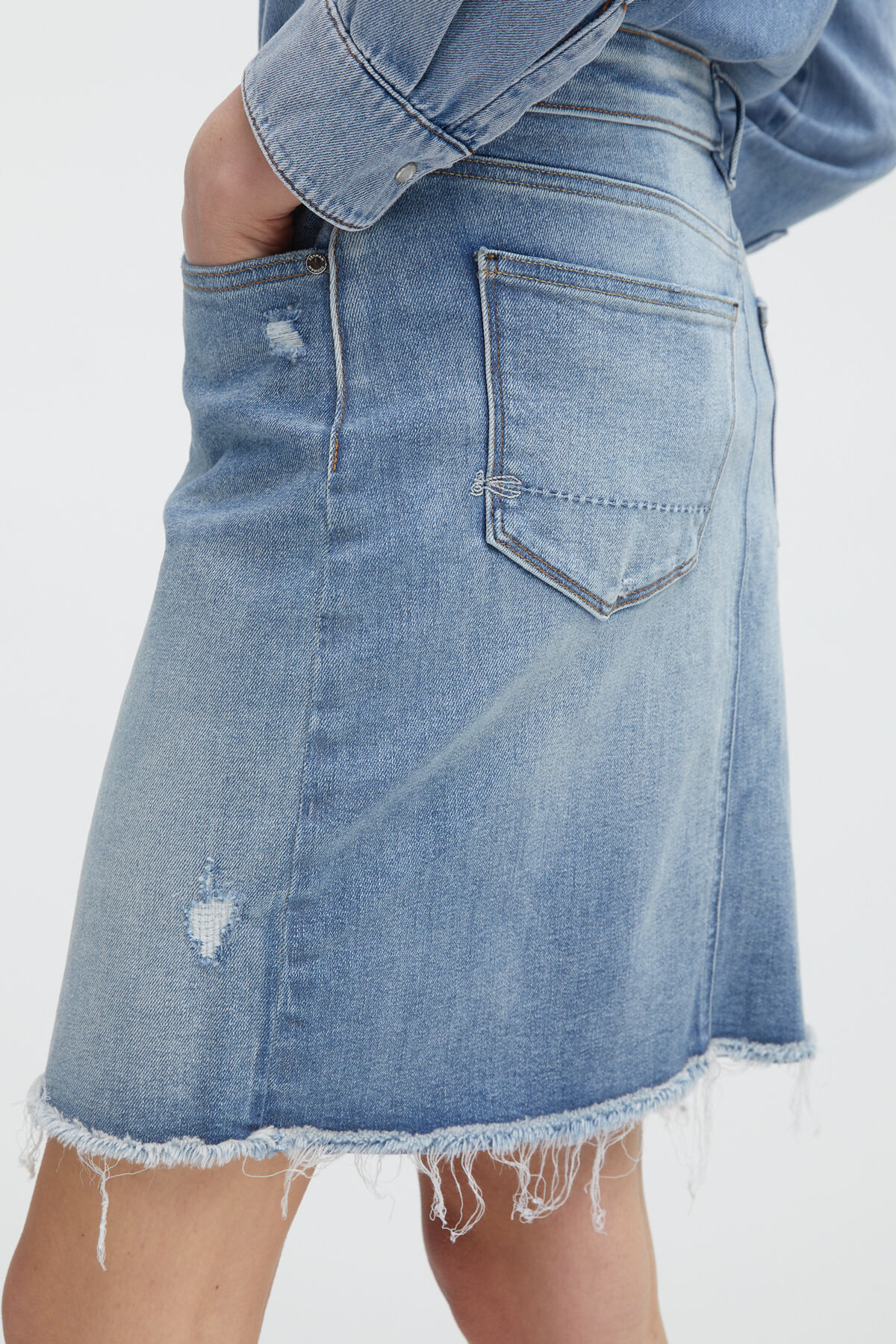 MONROE SKIRT Rip & Repair Indigo Denim