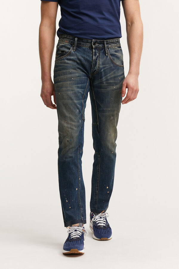 E-SKIN Paint Splattered Indigo Denim - Slim Fit
