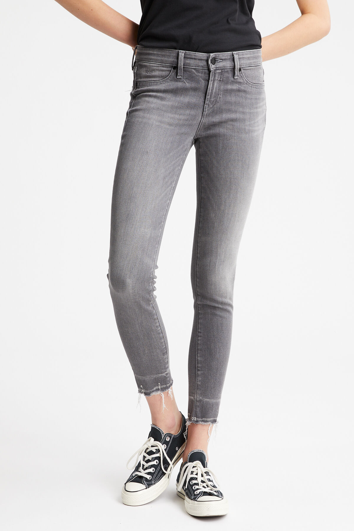 SPRAY Rip & Repair Grey Denim - Mid-rise, Tight Fit