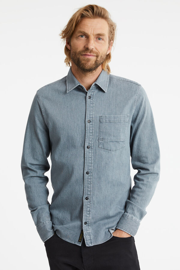 AXEL SHIRT Mid-grey clean rinsed - Slim Fit