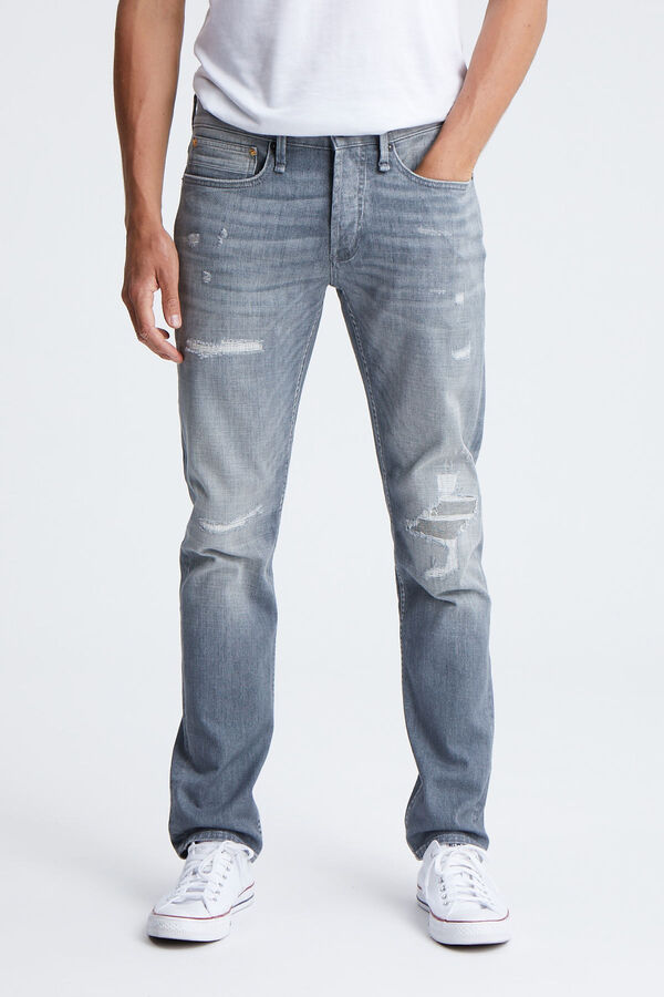 RAZOR Left-hand, Rip & Repair Grey Denim - Slim Fit