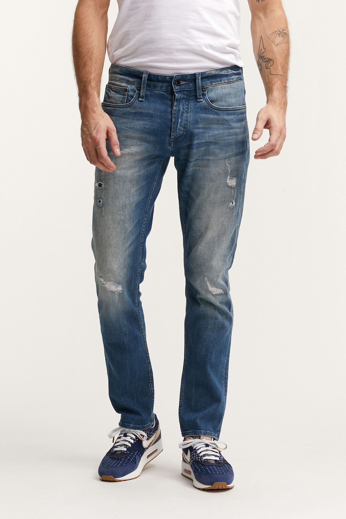 RAZOR BLUE-GREY CAST, RIP & REPAIR DENIM - SLIM FIT