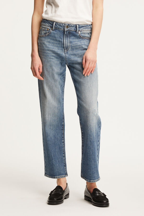 "BARDOT STRAIGHT Six-Year ""Green"" Indigo Denim - High-rise, Straight Fit"