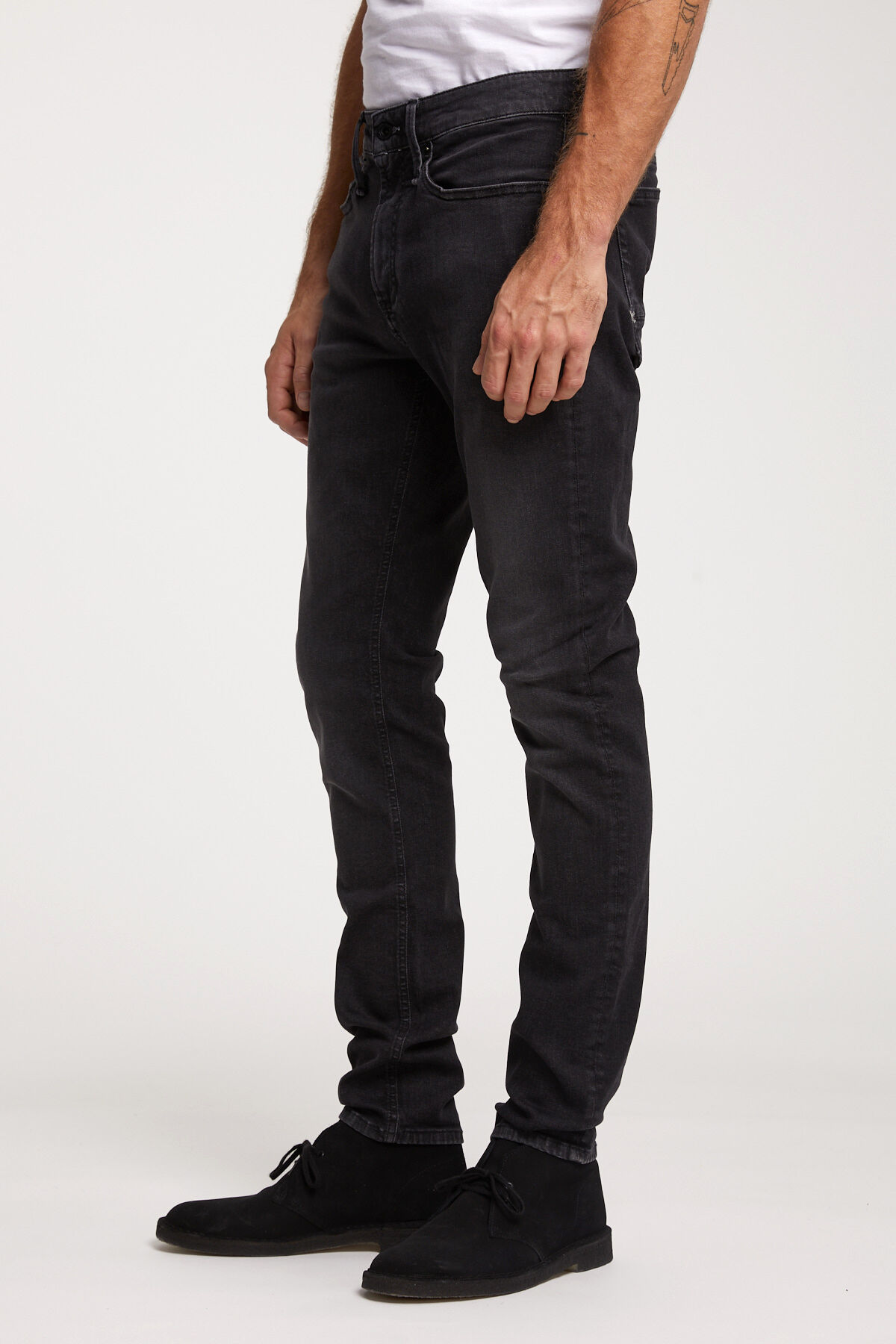 BOLT ZIP Rinsed Black Denim - Skinny Fit
