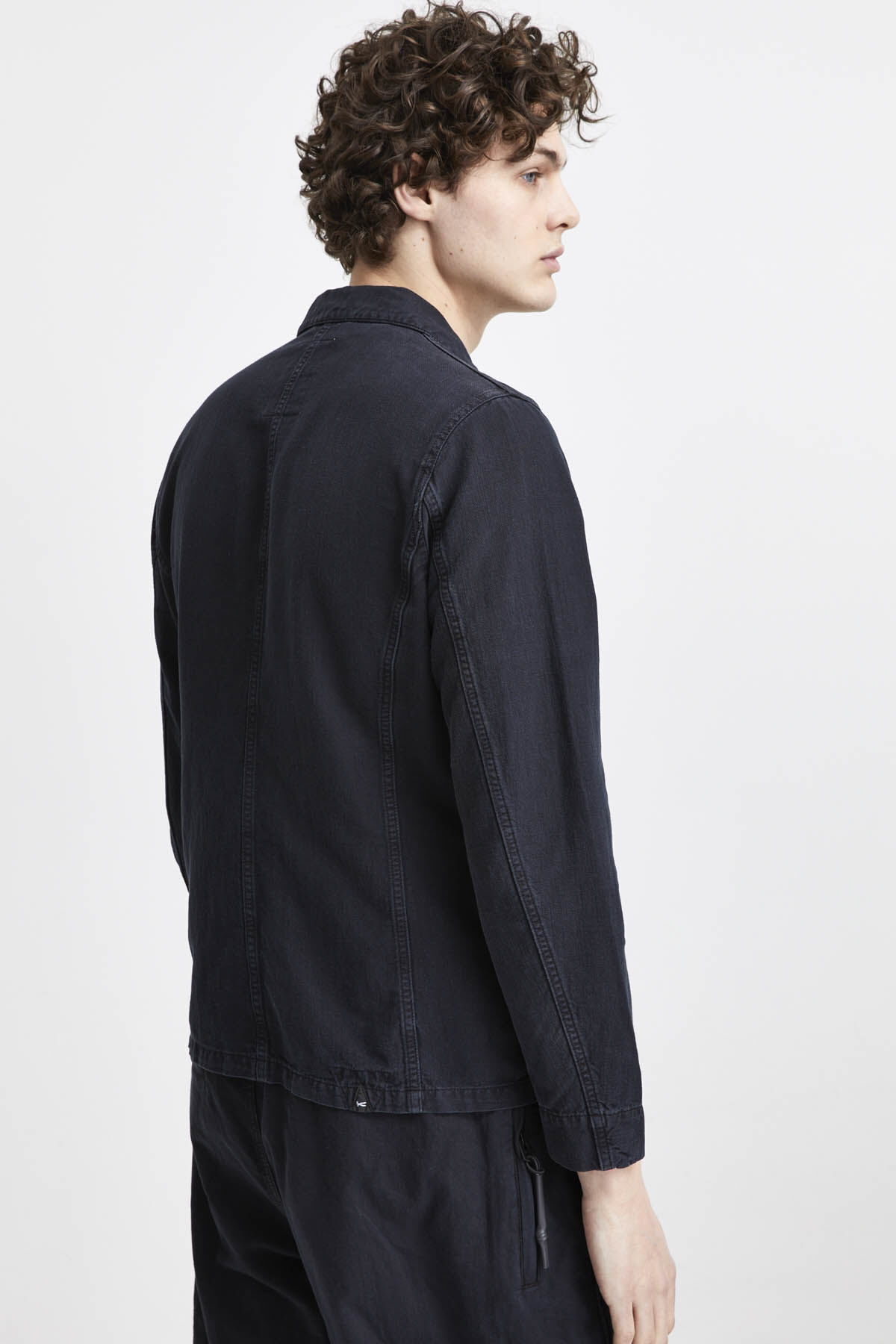 MAO JACKET Cotton & Linen Denim - Slim Fit