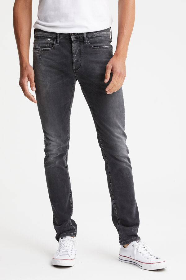 BOLT Mid-grey Rip & Repair - Skinny Fit