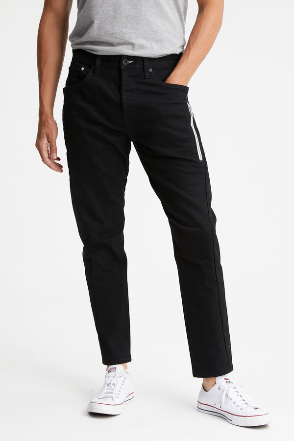 FUSION ZIP Stretch Black Denim - Tapered Fit