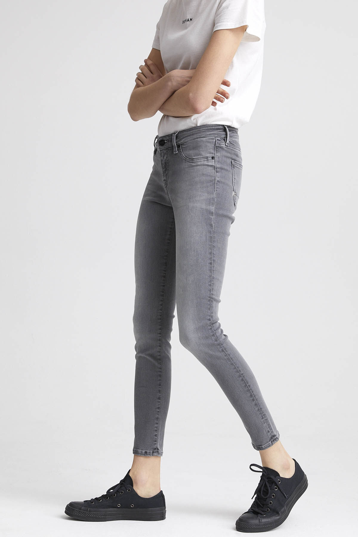 SPRAY Light Fade Grey Denim  - Mid-rise, Tight Fit