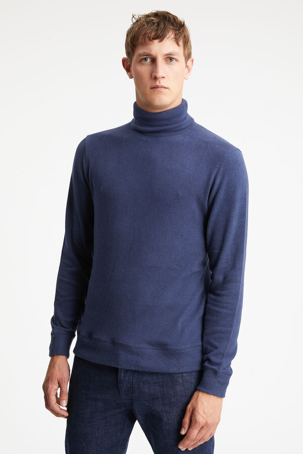 TAB ROLL KNIT Cotton Melange Jersey - Slim Fit