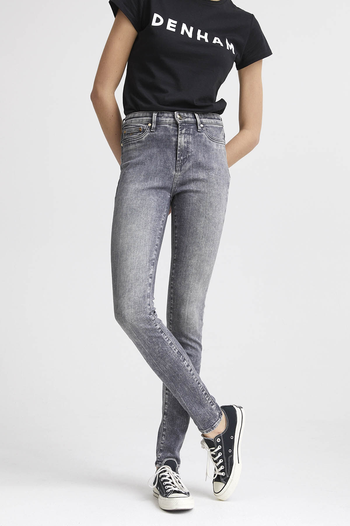 NEEDLE Grey Cast Denim - High-rise, Skinny Fit