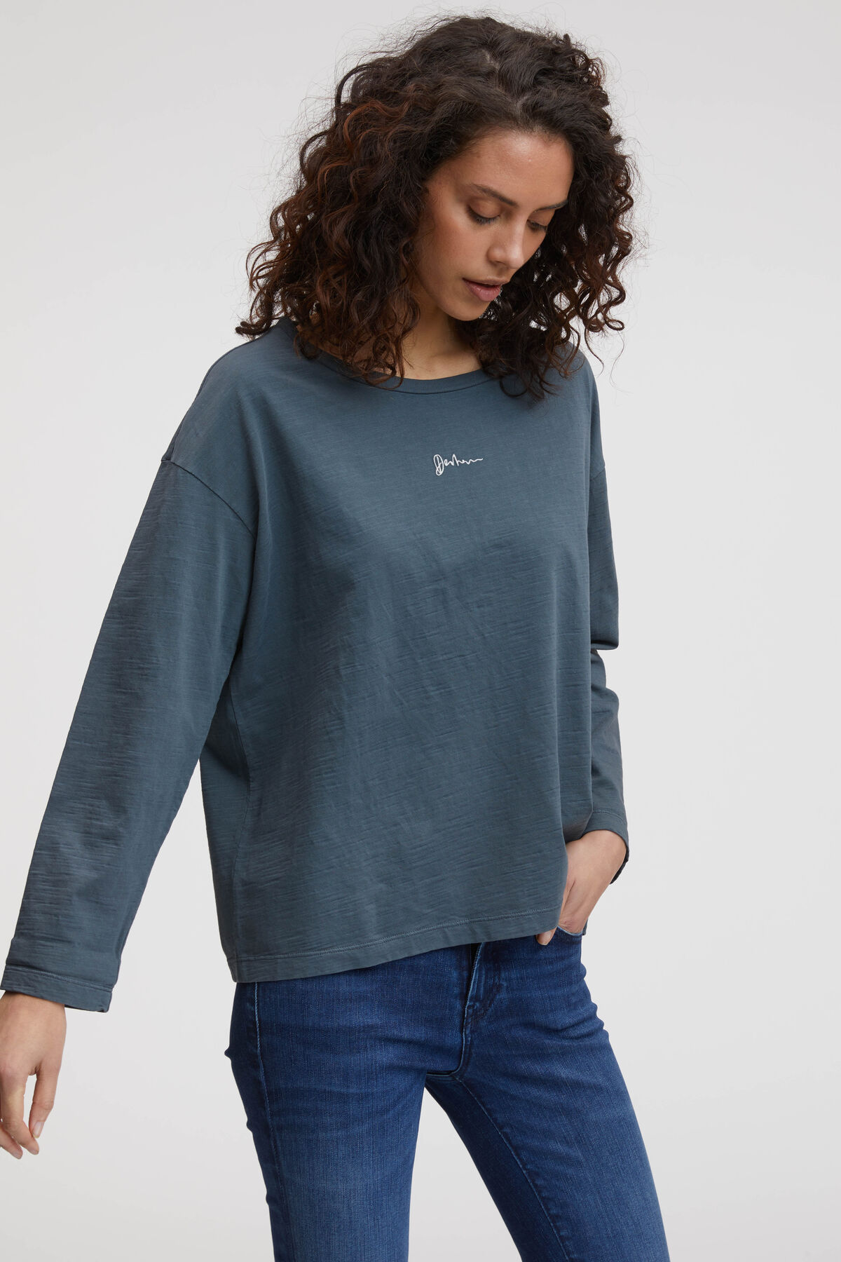 JANE LS GRAPHIC TEE HEAVY COTTON JERSEY - Boxy Fit