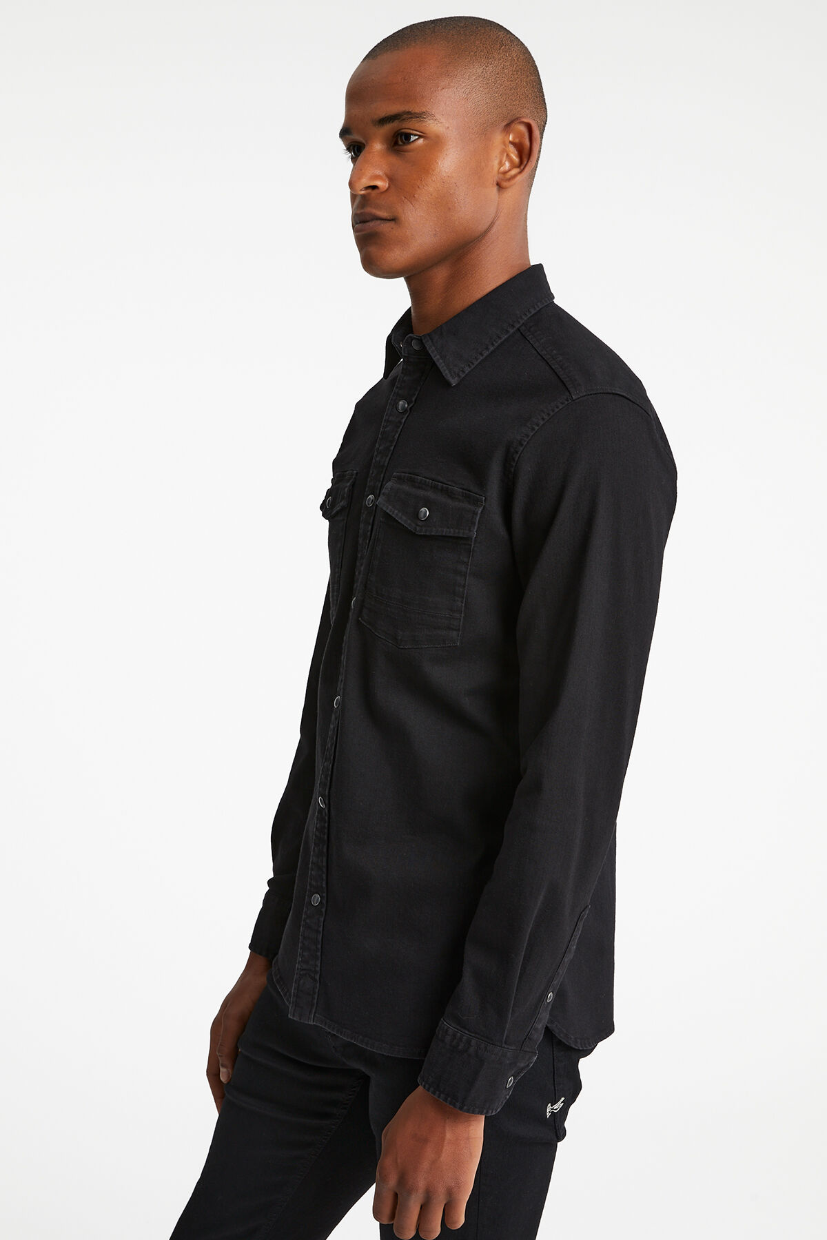 AXEL WESTERN SHIRT Black Comfort Stretch - Regular Fit