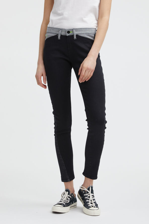 SPRAY ZIP 95MIX Black Sustainable Denim - Mid-rise, Tight Fit